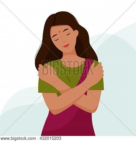 Indian Girl Hugs Herself By The Shoulders. A Woman Loves Her Body And Takes Care Of Herself. Love Yo