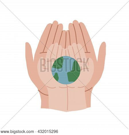 An Adult And A Child Hold The Earth. Adult Hands And Childrens Hands Are Holding The Globe. We Did N