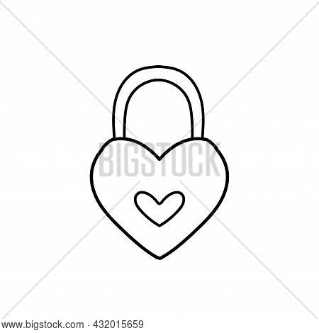 Love Padlock Doodle Icon. Heart Shaped Padlock For Love Lock Wedding Ceremony. Sketch Vector Illustr