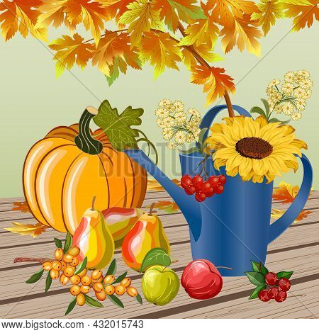Illustration With Fruits And Autumn Leaves.watering Can With Flowers, Pumpkin, Fruits And Autumn Lea