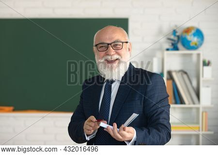 Smiling Happy Mature Elegant Professor With Glasses. Education And Knowledge Concept. Teachers Day.