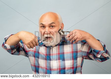 Portrait Of Stylish Hairdresser Bearded Man With Grey Moustache Beard. Bearded Old Man, Bearded Male