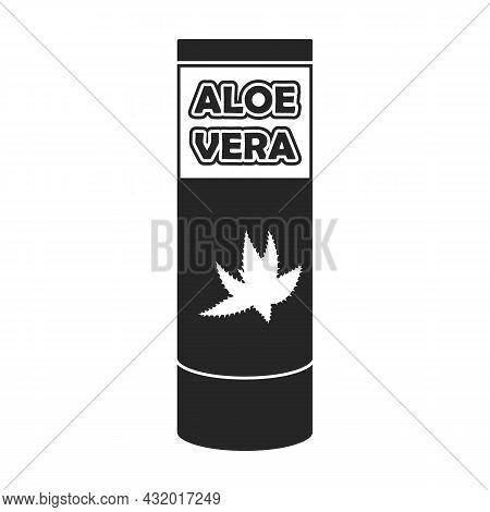 Bottle Aloe Vera Vector Icon.black Vector Icon Isolated On White Background Bottle Aloe Vera.