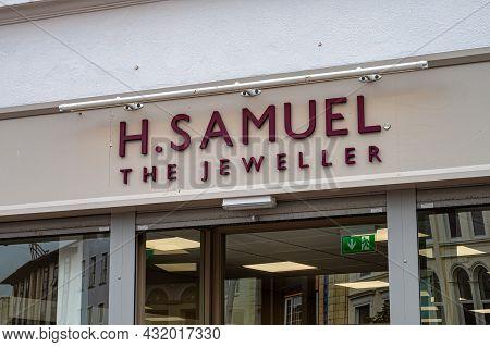 Cork, Ireland- July 14, 2021: The Sign For H. Samuel Jeweller In Cork City