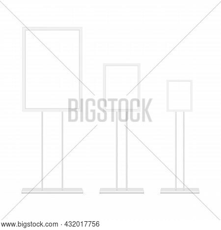 Blank Floor Standing Display Stands For Advertising, Isolated On White Background. Vector Illustrati