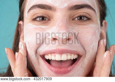 Close Up Woman Facial Mask, Face Clay. Beautiful Smiling Woman With Cosmetic Facial Procedure, Spa S