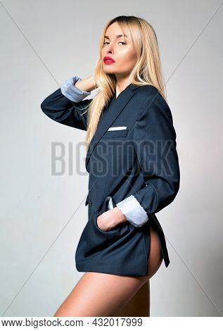 Sexy Girl In Office Suit. Businesswoman Style. Sensual Sexy Naked Woman.