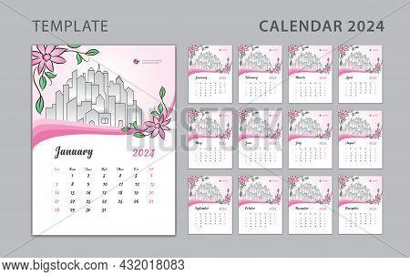 Wall Calendar 2024 Design, Pink Flowers Concept, Desk Calendar 2024 Template Can Be Place For Photo