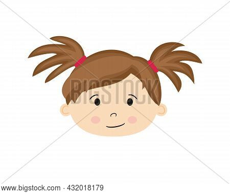 Isolated On White Background Cartoon Face Of A Girl. Cute Baby With Two Ponytails. Hand-drawn Toddle
