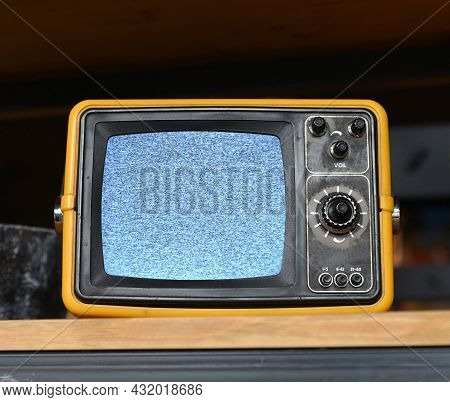 Old Little Television Set Close Up. Concept No Signal Tv.
