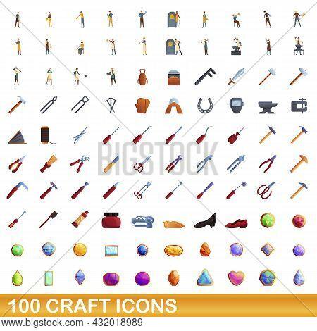 100 Craft Icons Set. Cartoon Illustration Of 100 Craft Icons Vector Set Isolated On White Background