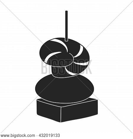 Canape And Food Black Vector Icon.black Vector Illustration Food And Appetizer. Isolated Illustratio