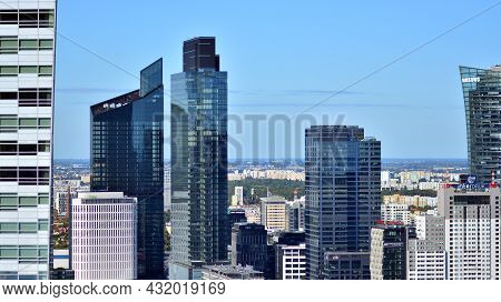 Warsaw, Poland. 5 September 2021. Aerial Cityscape Of Warsaw City From Viewing Tarrace Located On Th