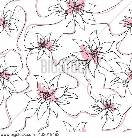 Seamless Pattern, Continuous One Line Drawing. Concept  Holiday, Poinsettia Flower Isolated On White