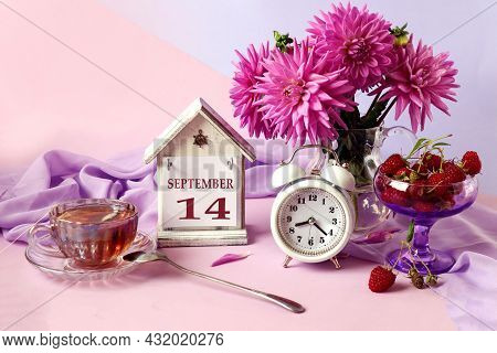 Calendar For September 14 : The Name Of The Month In English, Cubes With The Number 14, A Bouquet Of