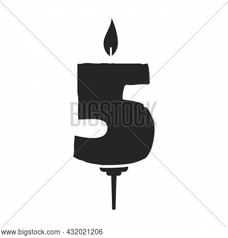 Birthday Candle Vector Icon.black Vector Icon Isolated On White Background Birthday Candle.