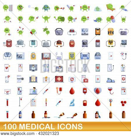 100 Medical Icons Set. Cartoon Illustration Of 100 Medical Icons Vector Set Isolated On White Backgr