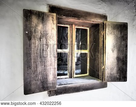 The Old Wooden Shutters Are Open. Wooden Window Frames And Shutters. Copy Space. White Concrete Wall