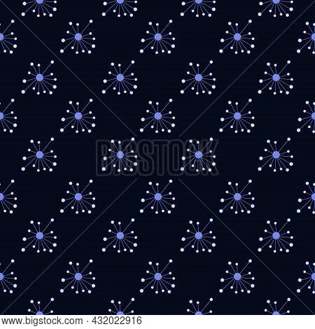 Seamless Pattern On A Dark Background Abstract Circles And Dots, Vector Illustration With Circles Do