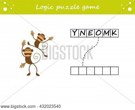 Logic Puzzle Game. Learning Words Monkey In English. Find The Hidden Name. Activity Page For Study E