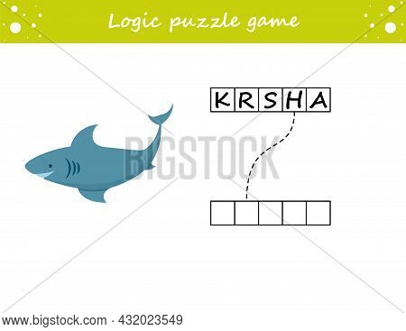 Logic Puzzle Game. Learning Words Shark In English. Find The Hidden Name. Activity Page For Study En