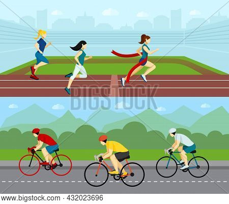 Sport People Horizontal Banner Set With Running Women And Cyclists Racing By The Road Vector Illustr