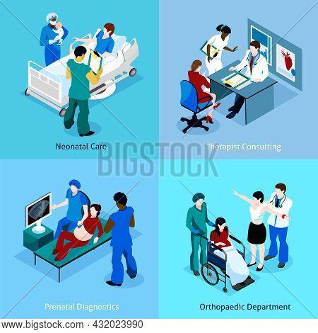 Doctor Patient Isometric Icon Set With Description Of Neonatal Care Therapist Consulting Prenatal Di