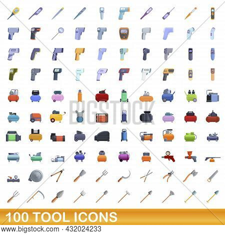 100 Tool Icons Set. Cartoon Illustration Of 100 Tool Icons Vector Set Isolated On White Background