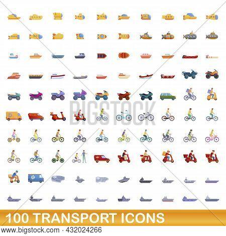 100 Transport Icons Set. Cartoon Illustration Of 100 Transport Icons Vector Set Isolated On White Ba