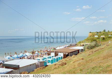 Yuzhne, Ukraine - July 21, 2021:  Seaside Park In Yuzhny, Port City In Odessa Province Of Ukraine ,