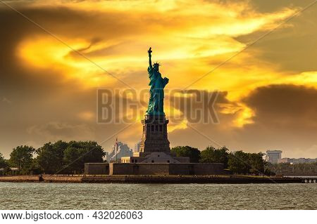Statue Of Liberty At Sunset In New York City, Ny, Usa