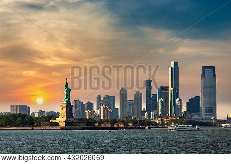 Panoramic View Of Statue Of Liberty And Jersey City In New York City, Ny, Usa