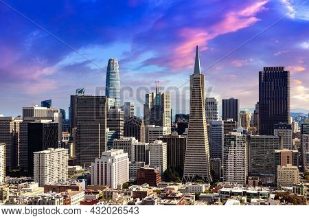 Panoramic Aerial View Of San Francisco At Sunset, California, Usa