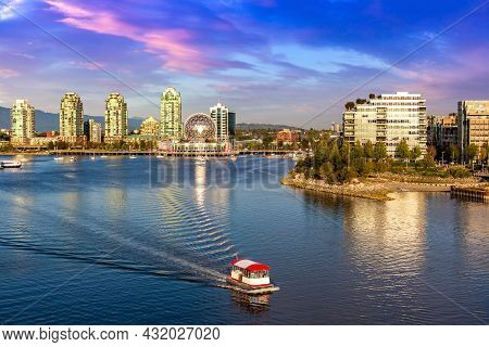 Panoramic Aerial View Of  Vancouver And False Creek At Sunset In Vancouver, Canada