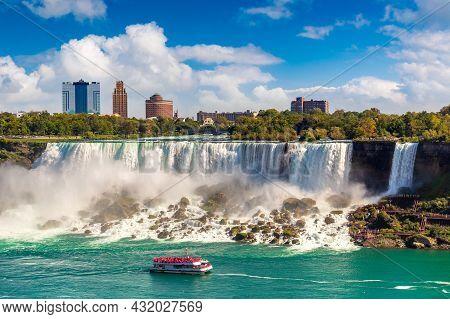 Canadian Side View Of Niagara Falls, American Falls In A Sunny Day  In Niagara Falls, Ontario, Canad
