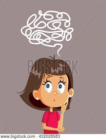Puzzled Little Girl Solving Logical Problem Vector Cartoon