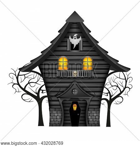 Isolated Halloween Haunted House With Ghost Illustration Vector
