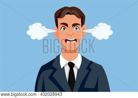 Angry Businessman Feeling Furious Vector Cartoon Illustration