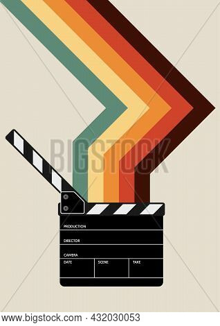 Movie And Film Poster Design Template Background With Film Slate And Colorful Stripe Line. Can Be Us