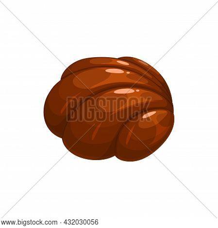 Chocolate Candy, Sweet Dessert Truffle Or Praline Caramel Bar, Vector Isolated Icon. Belgian Milk Ch