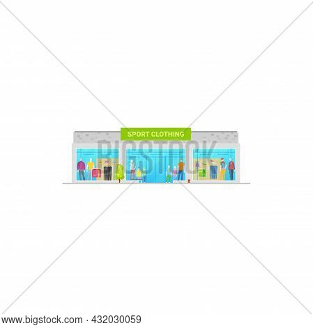 Sport Store Or Shop Sportswear Clothing Building, Vector Isolated Menswear And Womenswear Sport Bout