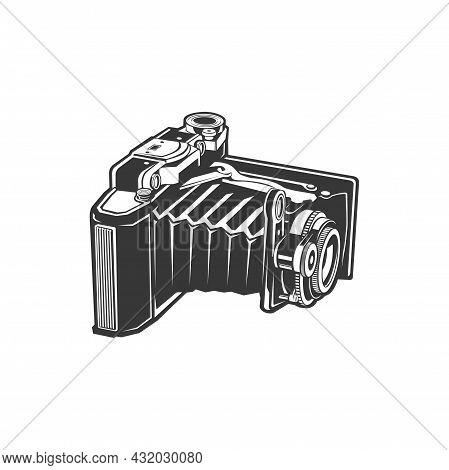 Unfolded Vintage Camera, Old Photocamera, Photography Shooting Equipment Isolated Monochrome Icon. V
