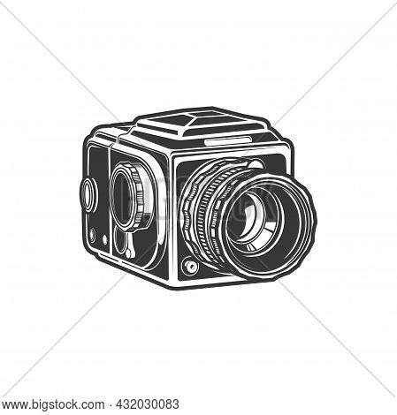 Photo-camera Photography Symbol Isolated Vintage Cam With Folding Zoom Lens Or Object-glass Monochro