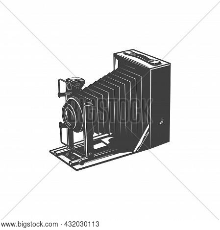 Unfolded Vintage Camera, Photo-camera Photography Making Device Isolated Monochrome Icon. Vector Old