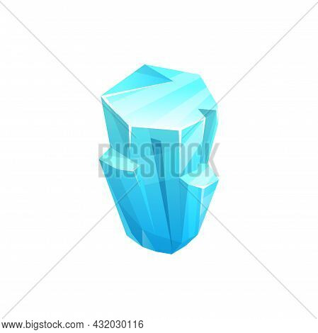 Ice Crystal Icon Of Rock Iceberg, Cold Cube Of Snow, Blue Vector Block. Winter Frozen Water Or Gem,
