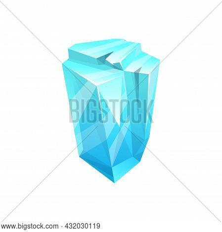 Ice Crystal Rock, Iceberg Or Cube Of Snow, Cold Frozen Water, Vector Blue Icon. Winter Gem Icicle Of
