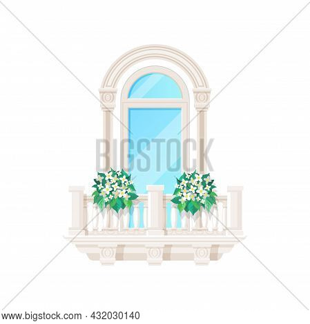 Balcony Window With Fence Railing Or Banister, Building Architecture, Vector. House Balcony Porch Wi