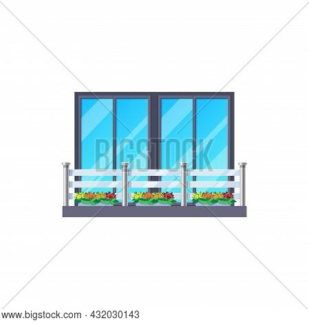 Balcony Window, House Facade Fence And Railing, Vector Architecture Building Banister. Modern Apartm