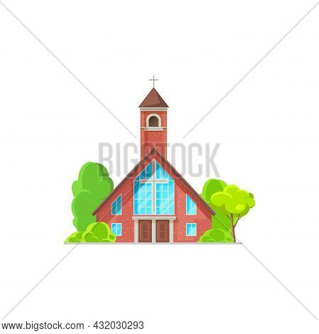 Catholic Church Building Vector Icon. Cathedral, Chapel And Monastery Facade Of Red Brick And Cross