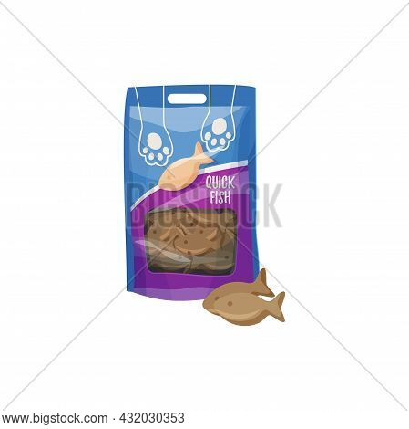 Cats Snack Or Pets Treat, Fish Biscuits, Animals Care And Health Food, Vector. Cats And Kitten Feedi